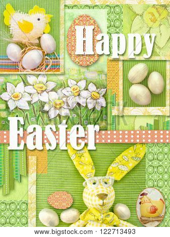 Happy easter greeting card. Holiday collage with drawn daffodils abstract green patten yellow rabbit chiken ribbon and eggs. Bright light green easter frame background.