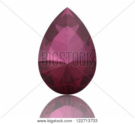 ruby on white background  .high resolution 3D image. 3D illustration