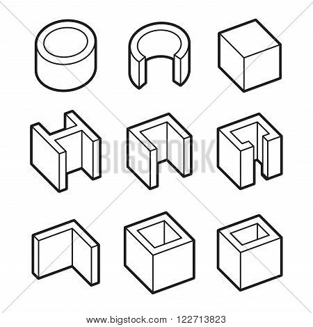 Metal Profiles  Icons Set. Steel Products. Vector illustration
