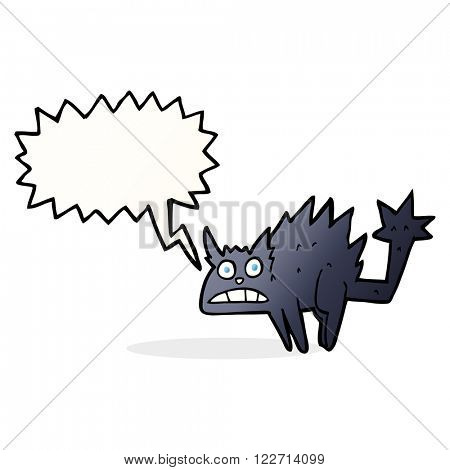 cartoon frightened black cat with speech bubble
