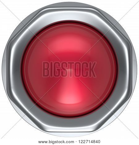 Button red military game panic start turn off on action push down activate ignition power switch electric design element metallic shiny blank led lamp