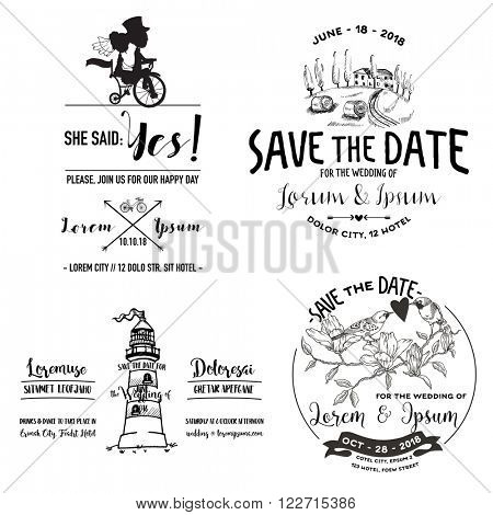 Vector Wedding Vintage Set. Save the Date. Wedding Card. Bridal Shower. Wedding Invitation. RSVP