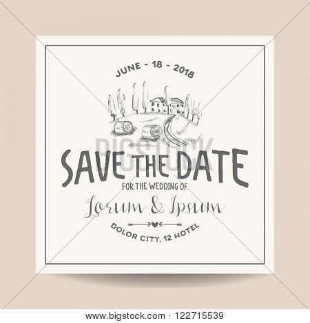 Wedding Invitation Card. Save the Date. Wedding Card. French Farm Theme. Vineyard Theme. Vector Invitation. Bridal Shower.