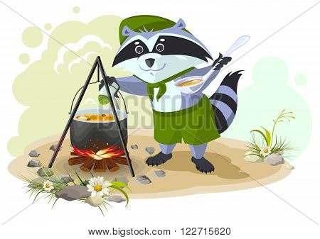 Scout raccoon cooking soup over campfire. Summer holidays camping. Cartoon illustration in vector format