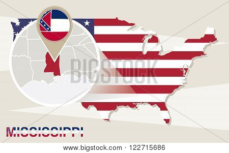 Usa Map With Magnified Mississippi State. Mississippi Flag And Map.