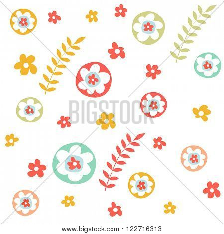 Floral pattern in doodle style with flowers and leaves