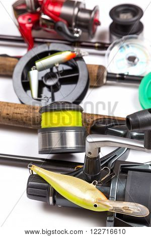 Fishing Tackles And Baits With Rods And Reels