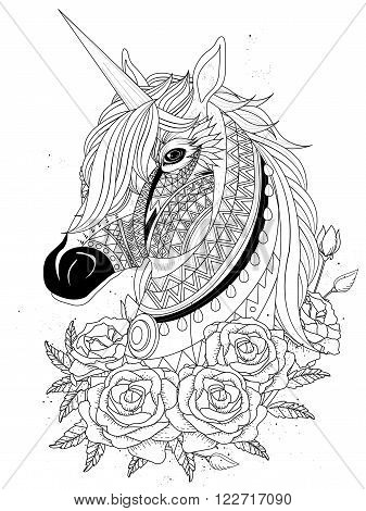 Sacred Unicorn Coloring Page