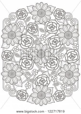 Lovely Floral Design Coloring Page