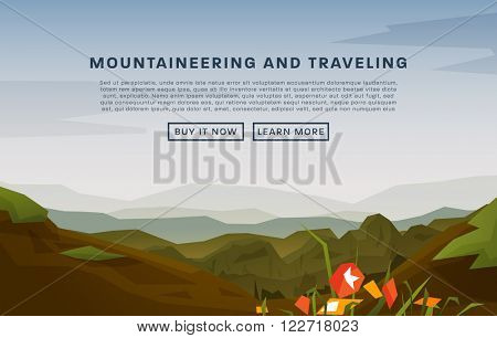 Mountaineering and Traveling Vector Illustration. Landscape with Mountain Peaks. Extreme Sports, Vacation and Outdoor Recreation Concept. Spring Flowers