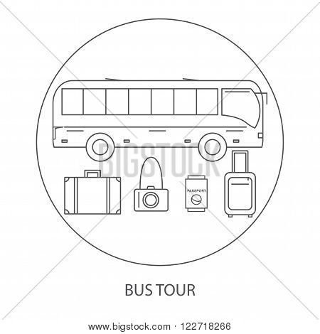 Bus tour. Icons bus travel. Vector illustration.