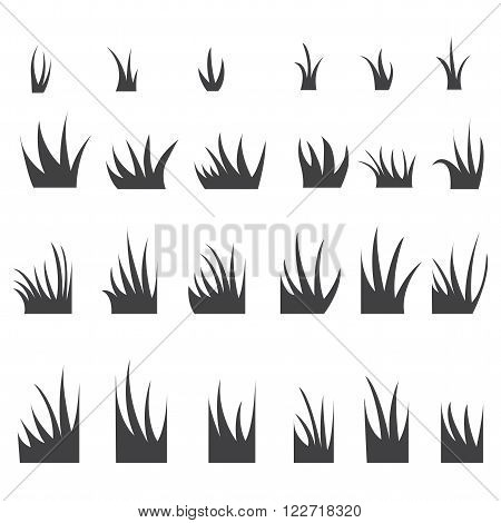 Silhouettes of grass tufts. Vector illustration. Set of grass.