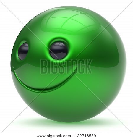 Smiling face green head ball cheerful sphere emoticon cartoon smiley happy decoration cute. Smile funny joyful person laughing joy character toy good avatar. 3d render