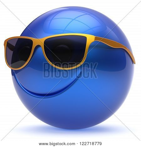 Smile face head ball cheerful sphere emoticon cartoon smiley happy decoration cute blue golden sunglasses. Smiling funny joyful person laughing joy character toy avatar. 3d render