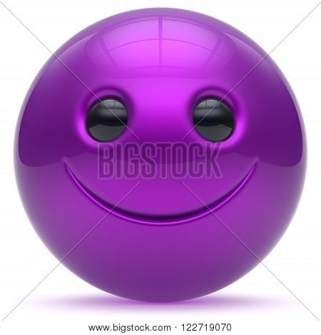 Smile face head ball purple cheerful sphere emoticon cartoon smiley happy decoration cute blue. Smiling funny joyful person laughing joy character toy good avatar. 3d render