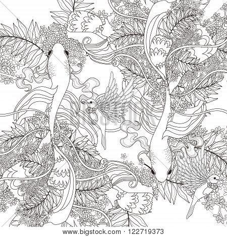 Elegant Fish Coloring Page