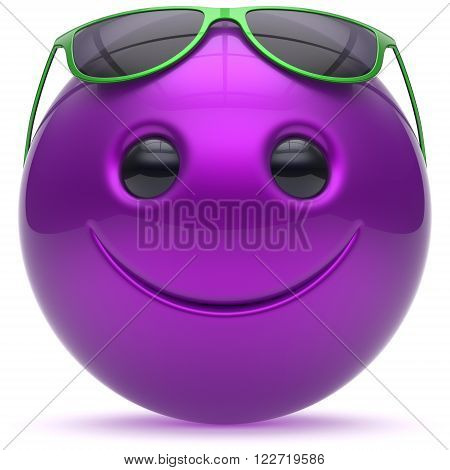 Smiley face cheerful head blue purple ball sphere emoticon cartoon smile happy decoration cute sunglasses. Smiling funny joyful person laughing joy character toy avatar. 3d render