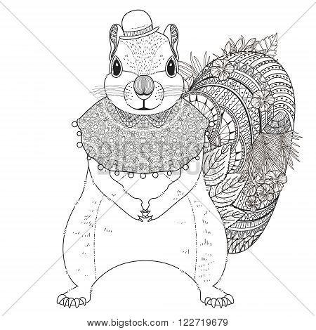 Adorable Squirrel Coloring Page
