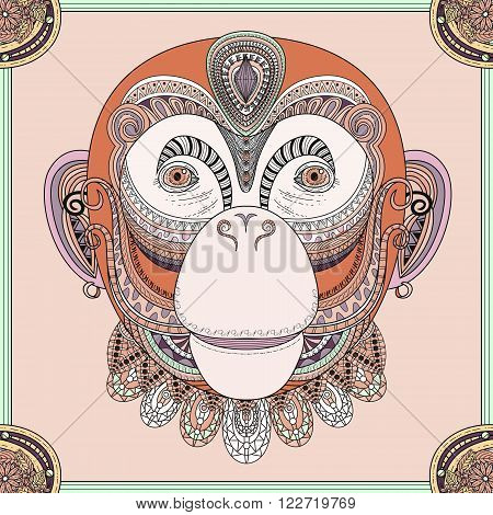 Funny Monkey Head Coloring Page
