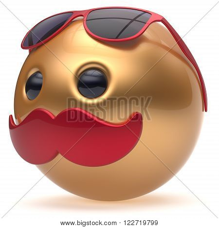 Smiley mustache face emoticon ball golden happy joyful cartoon handsome person red sunglasses caricature. Cheerful eyeglasses laughing fun sphere positive character avatar. 3D render isolated