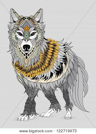 Imposing Wolf Coloring Page