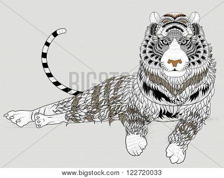 Attractive Tiger Coloring Page