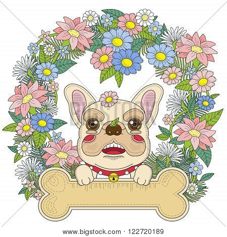 Adorable Bulldog Coloring Page