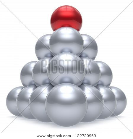Pyramid leader sphere ball hierarchy corporation red top order leadership element teamwork group business concept shiny sparkling white chrome. 3d render isolated