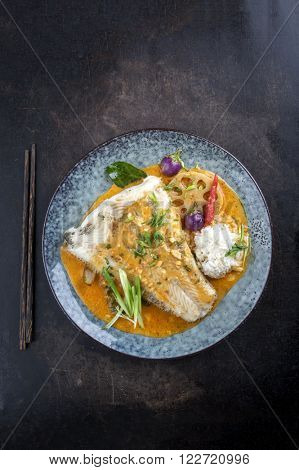 Kang Phet with Halibut on Plate