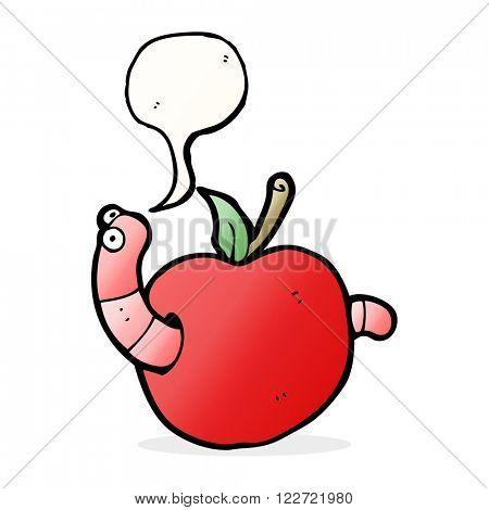 cartoon worm in apple with speech bubble