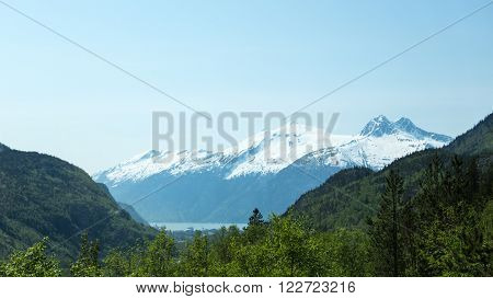 View of the ocean from Alaska's White Pass