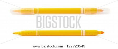 Felt-tip yellow pen marker isolated over the white background