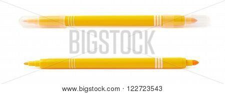 Felt-tip yellow pen marker isolated over the white background