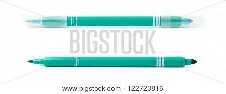 Felt-tip green pen marker isolated over the white background