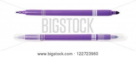 Felt-tip violet pen marker isolated over the white background