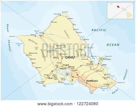 detailed street map oahu Hawaiian home island