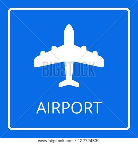 Airport sign vector. Airplane icon. Flat passenger plane icon isolated on blue background. Aircraft logo
