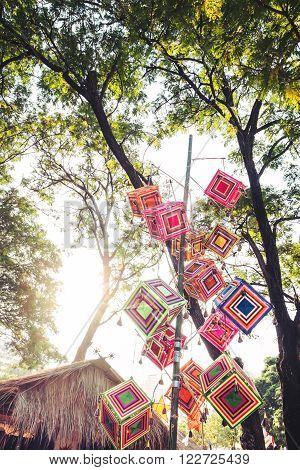 Tradition colorful Lanna outdoor decoration lantern northern Thailand style with sunlight effect