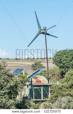 Wind and solar power generation for waterpump to supply the Carols Rest waterhole with water in the Addo Elephant National Park of South Africa