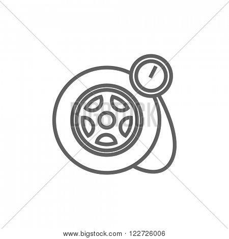 Pressure gauge tyre  line icon.