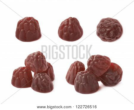 Berry shaped gelatin based chewing candy isolated over the white background, set of multiple different foreshortenings