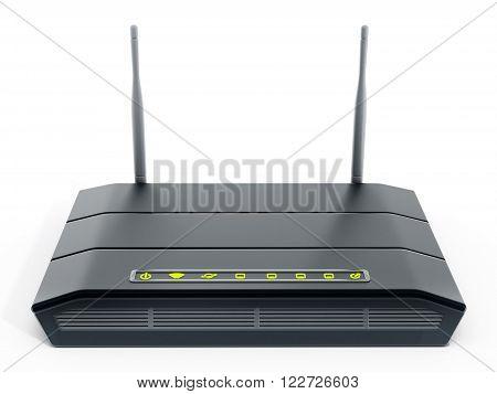 Black wireless modem isolated on white background