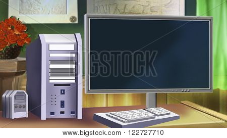 Old Desktop Computer with monitor. Digital painting.