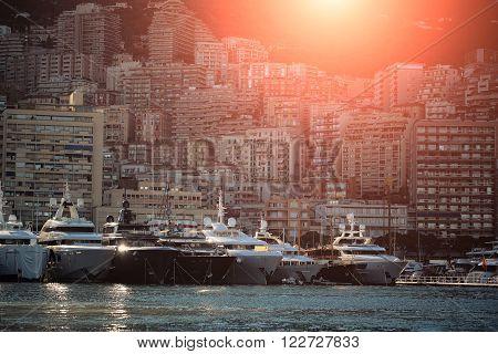 Yachts On Sun Set