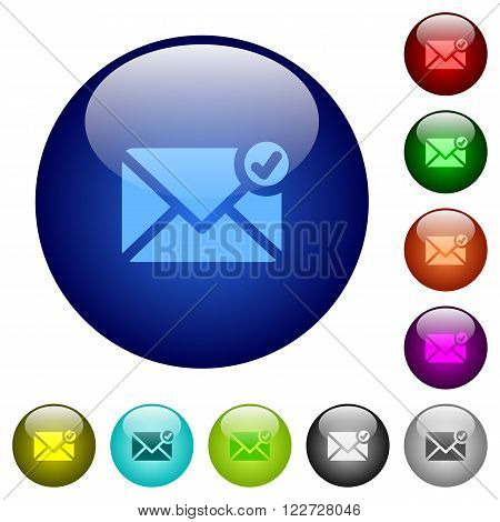 Set of color mail sent glass web buttons.