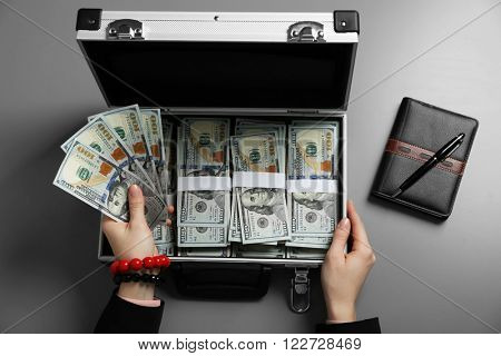 Businesswoman with notebook and case full of money