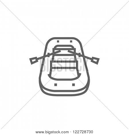 Inflatable boat line icon.