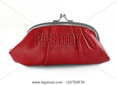 Red leather purse isolated on white