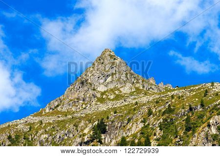 Peaks and mountain meadow in the National Park of Adamello Brenta. Trentino Alto Adige Italy