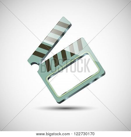 Clapper for movie. With the cut at the center. Green with a dropped shadow.